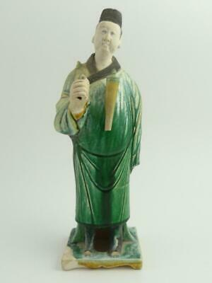 Antique Chinese Sancai-Glazed Ming Style Pottery Figure Of An Attendant
