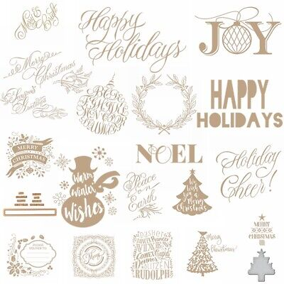 Christmas Decor Tree Greeting And Wishes Hot Foil Plate Dies Craft Album Stencil