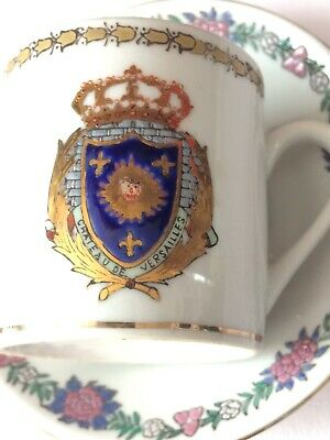 c1840-1900 Hand Painted Samson Armorial Chinese Cup/Saucer Coffee Can