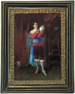 Soldier in an Interior Antique Oil Painting 19th Century European School