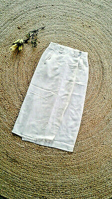 Vintage Cosi LINEN Skirt 8 S White Long Wrap Buttons Made in Australia Small