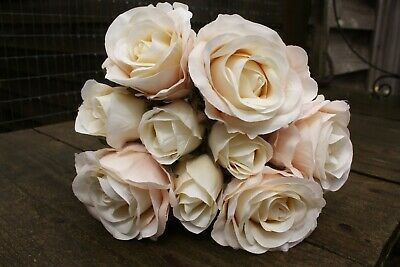 9  x IVORY / PALE PEACHY PINK BLUSH SILK ROSES & ROSE BUDS TIED BUNCH