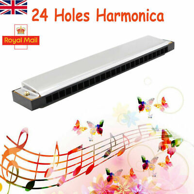 Professional 24 Hole harmonica key C mouth metal organ for beginners with Box UK