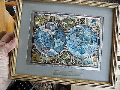 """8/""""x10/""""size pict Dufex Foil Picture Print World Map by Peter Schenk the Elder"""