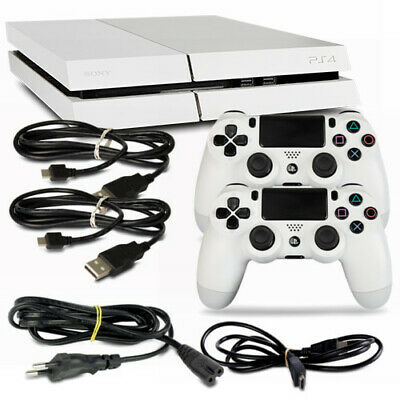 Playstation 4 PS4 Console CUH-1116A 500GB Bianco #32 + Tutti Cavo + 2 Controller