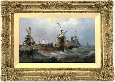 Sailing Boats off the Coast Marine Oil Painting by Samuel Calvert (1828–1913)