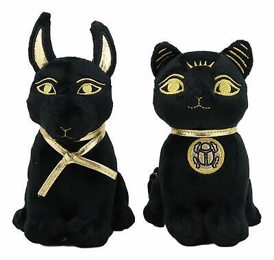 Pack of 2 Black Gold Egyptian Small Bastet Cat and Anubis Dog Plush Toys Dolls