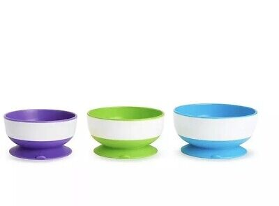 Munchkin Stay Put Suction Bowls with Strong Suction, Pack of 3