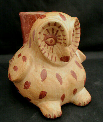 """Precolumbian Moche Style Artisan Pottery Reproduction OWL WATER VESSEL Signed 8"""""""