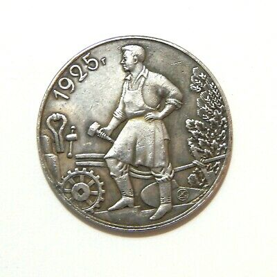 One Ruble 1925***Soviet Union***Ussr***Lenin***Stalin***Exonumia Silvered Coin