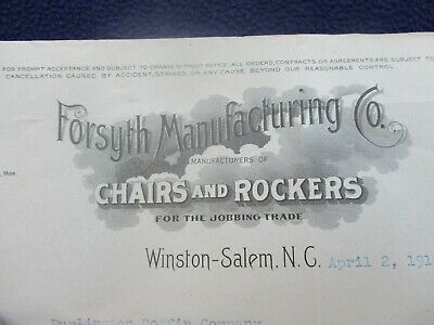 1919 Forsyth Rockers and Chairs MFG.,Winston-Salem,North Carolina Letterhead!