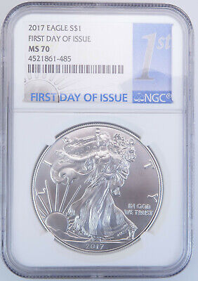 2017 MS 70 $1 American Silver Eagle First Day Of Issue One Dollar NGC