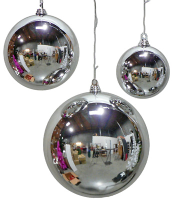 16In Large Shiny Silver Christmas Ball Ornaments Shatterproof Plastic 400Mm