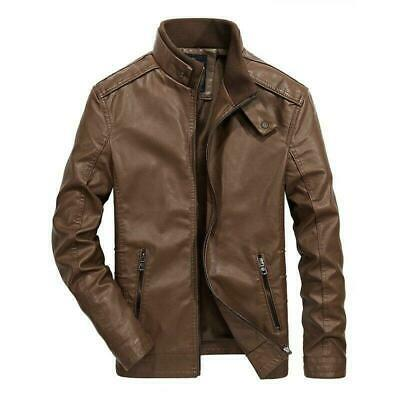 Men's Leather jacket Motorcycle Punk Military Outwear Zipper Stand collar Casual