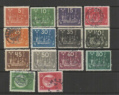 Sweden 1924 UPU Congress to 2 kr fine used , ( 5 ore is MH ) SG 146 - 159
