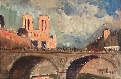 Maurice Fallies (1883-1965) Signed French Oil - River Seine Paris Notre Dame