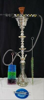 Egyptian Handcrafted Ice Chiller Hookah/Shisha W/ Clay Bowl, Brushes, Hose, Etc.