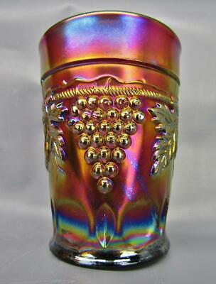 """Northwood GRAPE & CABLE Lovely Amethyst Carnival Glass 4"""" Tumbler 7002"""