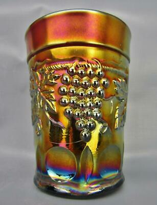 """Northwood GRAPE & CABLE Lovely Amethyst Carnival Glass 4"""" Tumbler 7001"""