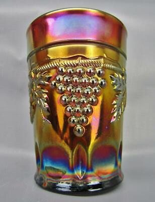 """Northwood GRAPE & CABLE Lovely Amethyst Carnival Glass 4"""" Tumbler 7016"""