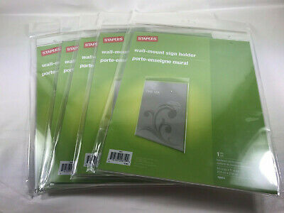 Staples Wall Mount Sign Holder 8 1/2 inch x 11 inch Lot of 5