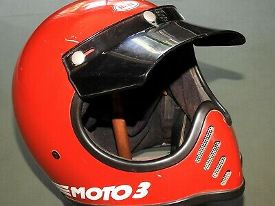 Vtg '84 BELL MOTO 3 RED MOTORCYCLE HELMET EXC 7 1/8 57 Racing Full Face USA RARE