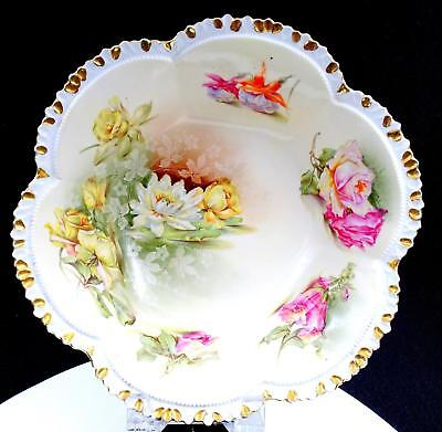 """Rs Prussia Mold #201 Floral Water Lily Gold Rim 10 7/8"""" Serving Bowl 1880-1910"""
