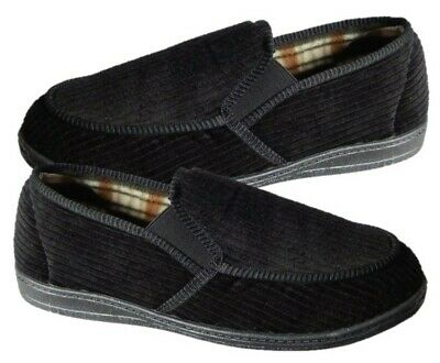 Dr LIGHTFOOT Mens Luxury Black Check Lined Cord Moccasins Slippers SIZE 11/45