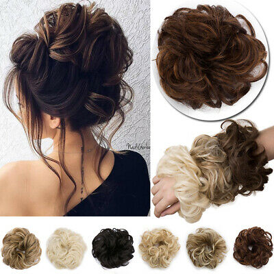 LARGE THICK Hair Scrunchie Curly Messy Bun Updo Natural Hair Extensions as Human