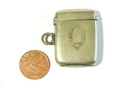 Antique Nickel Vesta Case Match Safe Fob with Garter Emblem & JS Initials #V98