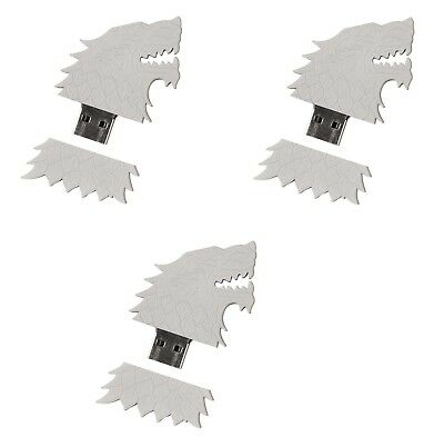 HBO Game of Thrones 3 BFF Lot 4GB USB Flash Drive Set House Stark Sigil Direwolf