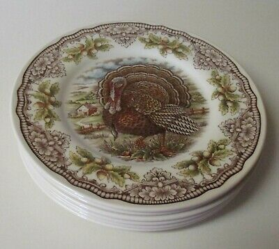 The Victorian English Pottery Turkey 6 Salad Dessert Plates Made in England NWT