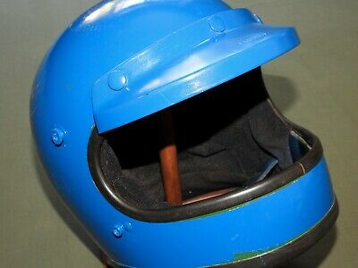 Vtg '74 BELL STAR 120 BLUE PAINTED MOTORCYCLE HELMET 7 3/8 Racing Full Face RARE