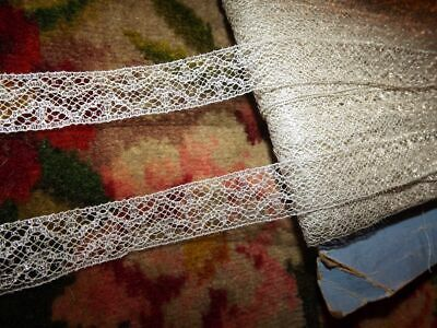 "3 yds Antique Vintage FRENCH Silver METALLIC Insertion Lace Trim  ~ 3/4"" width"