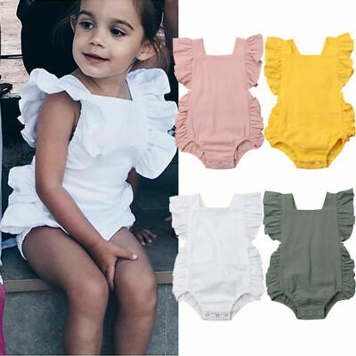 Newborn Baby Girl Ruffle Romper Solid Bodysuit Sunsuit Summer Clothes Outfits