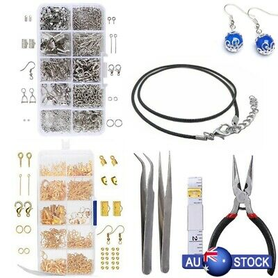 Large Jewellery Making Kit Pliers Silver Beads Wire Starter Home DIY Tool New