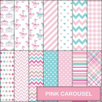 Pink Carousel Scrapbook Paper - 14 X A4 Pages