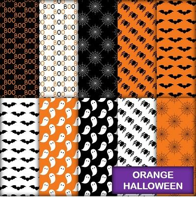 ORANGE HALLOWEEN SCRAPBOOK PAPER - 10 x A4 pages