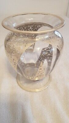 ANTIQUE ART Clear GLASS Vase  with Heavy FILIGREE SILVER OVERLAY