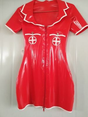 2019 Latex Dress 100% Rubber Mini Sexy Nurse Skirt Cosplay Party Red Size S-XXL
