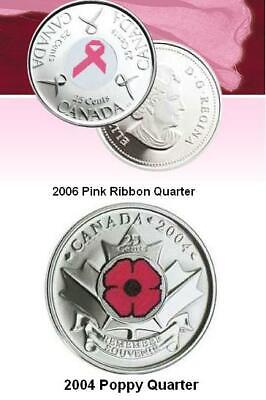 Complete Set of Four Canadian Poppy & Colored Quarters. UNC. (2004 to 2015)