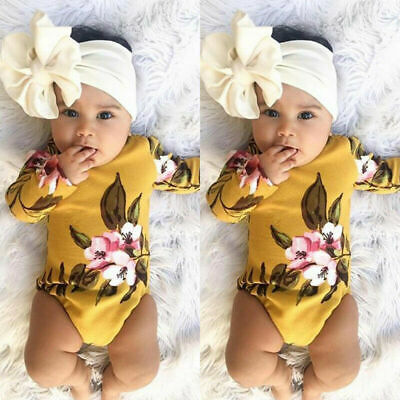 Newborn Baby Girl Flower Print Romper Bodysuit Jumpsuit Headband Clothes