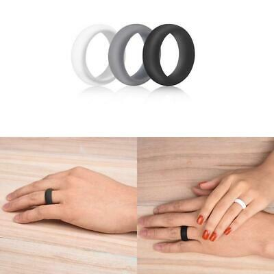 3x Silicone Rubber Wedding Ring Bands Flexible Comfortable Safe Work Sport Gym