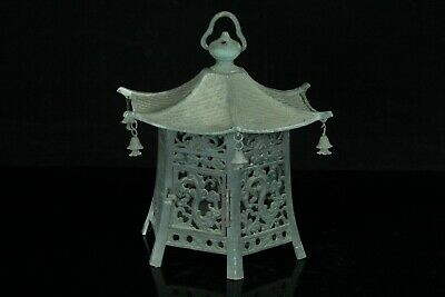 Aug092 Japanese Antique Bronze Hanging Lantern Open Work Temple