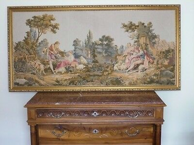 Huge Authentic Vintage French  Gold Framed French Romance Scene Wall Tapestry