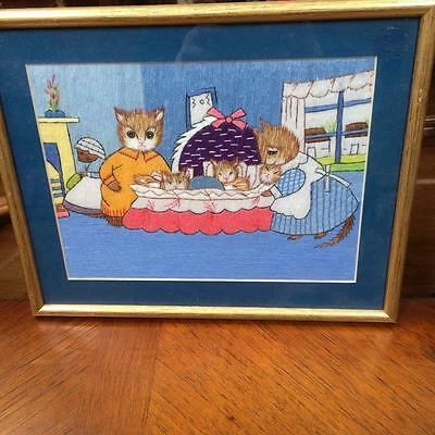 Vintage Framed Long stitch Embroidery Tapestry Childrens Bedroom Kittens Picture