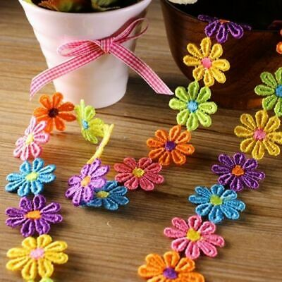 Coloured Daisy Flower Cotton Lace Trim Sewing Craft