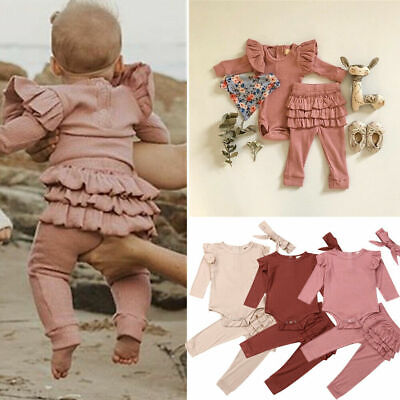 Newborn Baby Girl Outfit Long Sleeve Romper Tops Ruffle Pants Clothes+ Headband