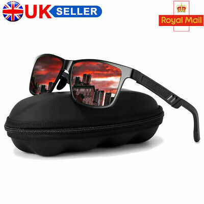 UK Mens HD Polarized Sunglasses Al-Mg Metal Frame Fashion Aviator Driving UV400