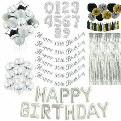 Silver Bunting Banner Balloons Happy Birthday 18/21st/30/40/50th Party Decor UK